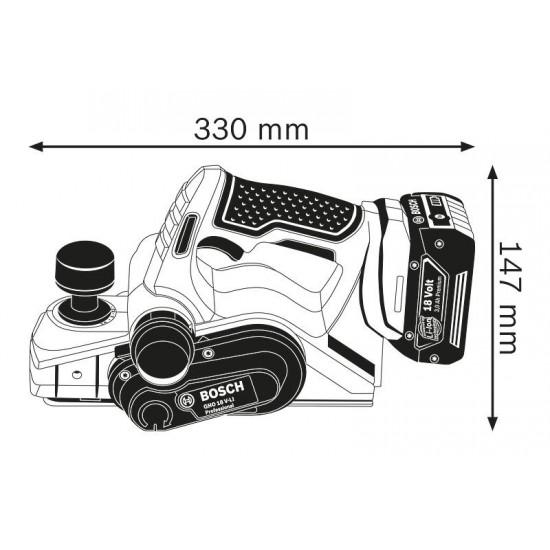 GHO 18 V-LI Πλάνη μπαταρίας SOLO + L-BOXX BOSCH