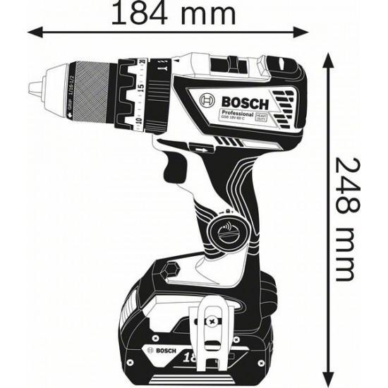 GSB 18V-60 C Κρουστικό δραπανοκατσάβιδο μπαταρίας SOLO + L-BOXX BOSCH