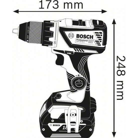 GSR 18V-60 C Δραπανοκατσάβιδο Mπαταρίας SOLO + L-BOXX BOSCH