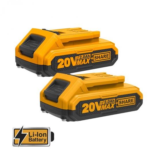 Δραπανοκατσάβιδο Μπαταρίας 20V + 2x2.0Ah + 47 Εξαρτήματα CDLI20025 INGCO