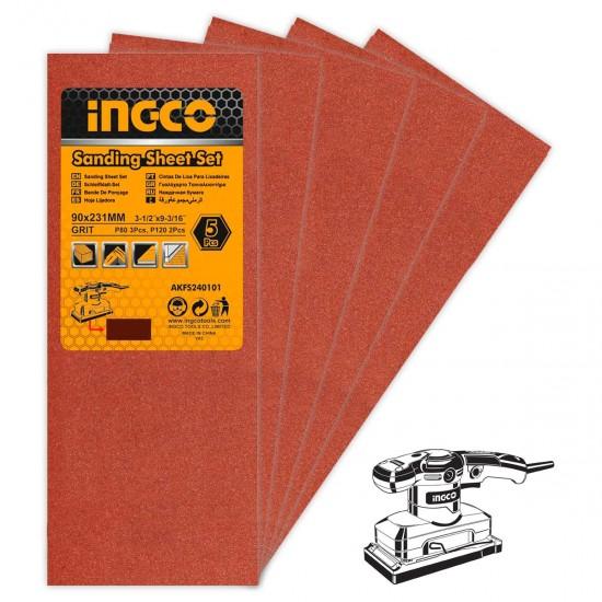 Σετ 5 τεμ Φύλλα Λείανσης Παλμικού Τριβείου AKFS240101-1 INGCO
