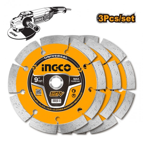 Δίσκος Διαμαντέ Δομικών 230mm 3 τεμ DMD0123023 INGCO