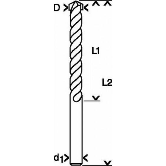 Τρυπάνι για πέτρα - τοίχο - μπετό D=6mm L2=100mm 1 609 200 207 BOSCH