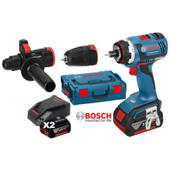 GSR 18 V-EC FC2 Δραπανοκατσάβιδο μπαταρίας BOSCH + L-Boxx + 2x4.0 Ah Batteries +2 Προσαρτήματα