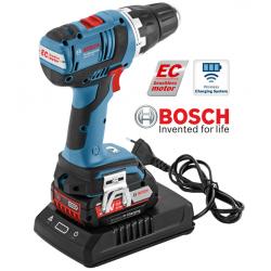 GSR 18 V-EC  BOSCH Δραπανοκατσάβιδο + Wireless Φορτιστής + 2x2.0 Ah Li-Ion + L-Boxx