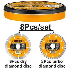 Διαμαντόδισκοι 8 τεμάχια σε μεταλλικό κουτάκι INGCO