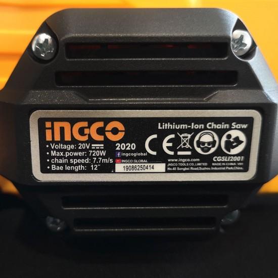 Αλυσοπρίονο Μπαταρίας Επαγγελματικό 720W 20V Li-Ion Solo CGSLI2001 INGCO