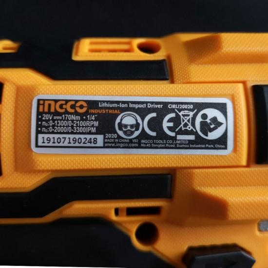 Παλμικό Κατσαβίδι Μπαταρίας Επαγγελματικό 20V Li-Ion Solo CIRLI20020 INGCO