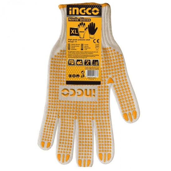 Γάντια βαμβακερά με κόκκους XL HGVK05P-XL INGCO
