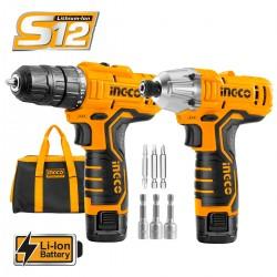 Σετ 2 τεμ Εργαλεία Μπαταρίας 12V Li-Ion CKLI1201 INGCO