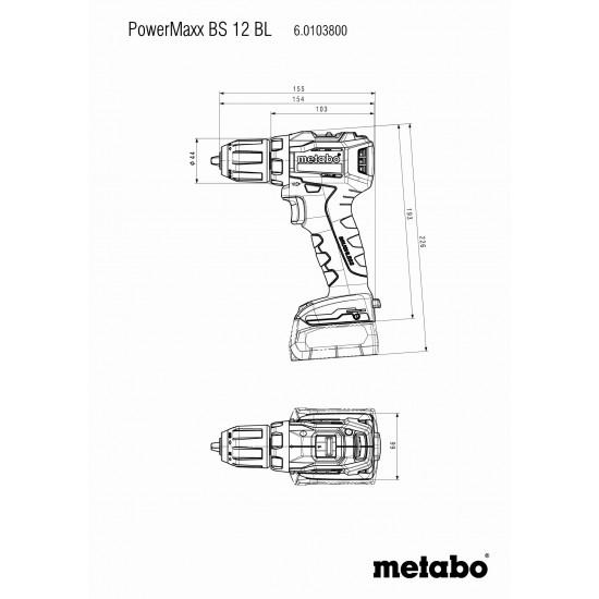 Δραπανοκατσάβιδο Μπαταρίας 12 Volt PowerMaxx BS 12 BL Metabo