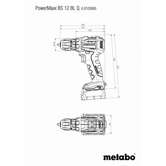Δραπανοκατσάβιδο Μπαταρίας 12 Volt PowerMaxx BS 12 BL Q Metabo