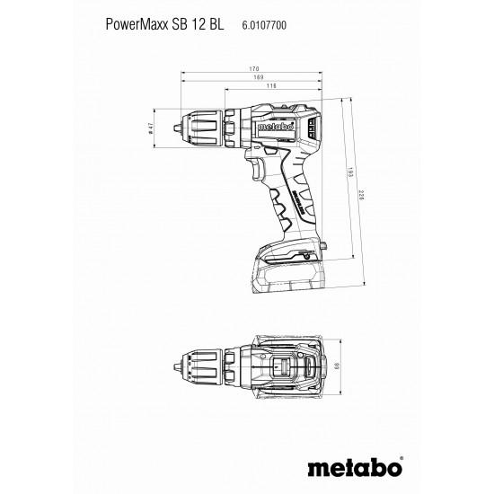 Κρουστικό Δραπανοκατσάβιδο Μπαταρίας 12 Volt PowerMaxx SΒ 12 BL Metabo