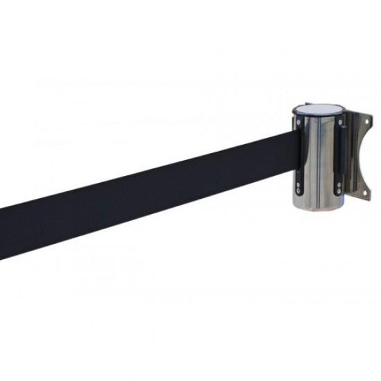 Εκτεινόμενος ιμάντας τοίχου σε μαύρο χρώμα μήκους 2m με ασημί μεταλλικό κέλυφος inox WSBL-200