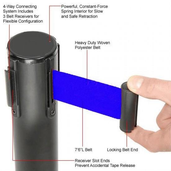 Κολωνάκι οριοθέτησης μαύρο mat ύψους 91cm με μπλε ιμάντα 2m BB-200
