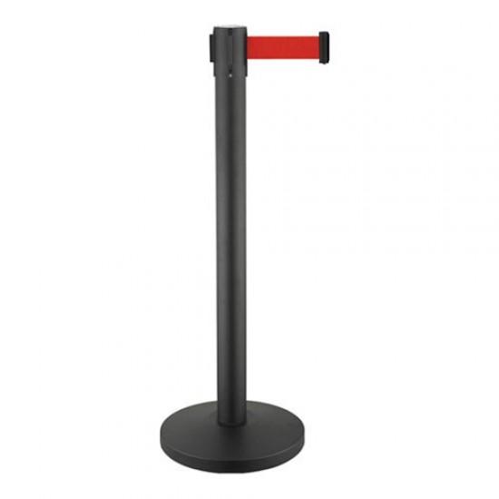 Κολωνάκι οριοθέτησης μαύρο mat ύψους 91cm με κόκκινο ιμάντα 2m BR-200