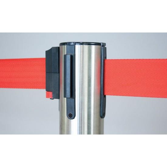 Κολωνάκι οριοθέτησης ασημί inox ύψους 91cm με κόκκινο ιμάντα 2m SR-200