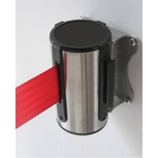 Εκτεινόμενος ιμάντας τοίχου σε κόκκινο χρώμα μήκους 2m με ασημί μεταλλικό κέλυφος inox WSR-200
